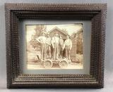 Antique Tramp Art : Frame and Photograph of Railroad Gandy Dancers w/ Handcar