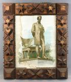 Antique Tramp Art : Picture Frame w/ Abraham Lincoln Lithograph