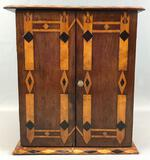 Vintage Hand Crafted Wood Inlay Cabinet w/ Scottish Thistle Theme