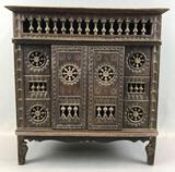 Antique Spindle Mural Decorative Wooden Cabinet