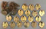 Group of Vintage Brass Cow or Cattle Number Tags