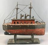 Vintage Hand Carved Wooden Model Ship on Stand