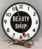 Vintage Beauty shop lighted wall clock