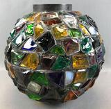 Vintage Peter Marsh-style Chunky Slag Glass Hanging Globe Lamp Shade