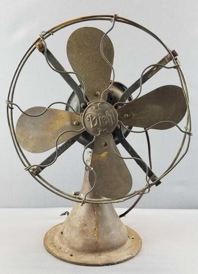"""Antique """"Diehl"""" Brass Blade Table Fan"""