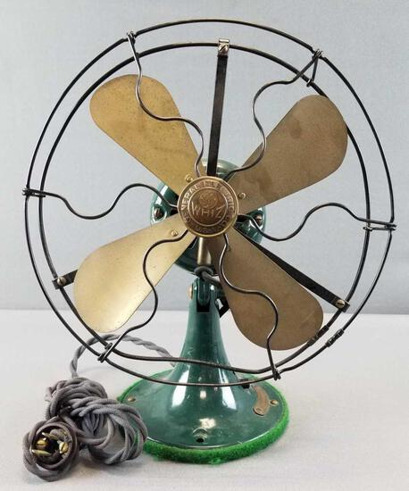 """Antique """"General Electric Whiz"""" Brass Blade Table Fan"""