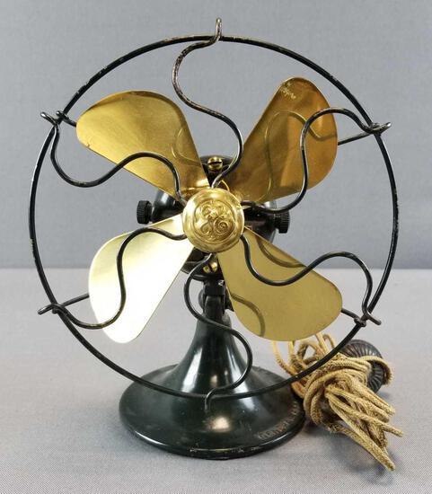 Vintage General Electric Brass Blade Table Fan