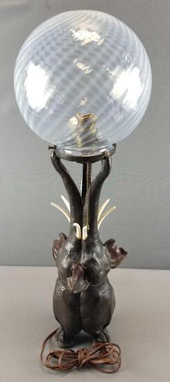 Elephant Lamp with Glass Globe