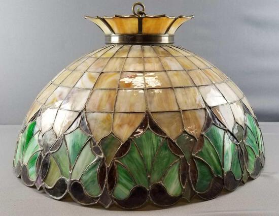 Vintage Stained/Slag Glass Hanging Light Fixture