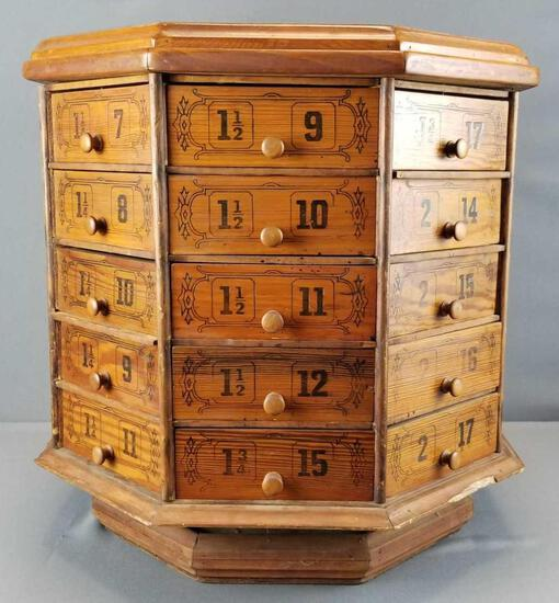 Antique Hardware Store Octagonal Bolt/ Screw Cabinet