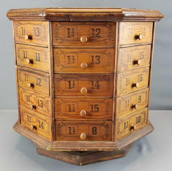 Antique Hardware Store Octagonal Bolt/Screw Cabinet