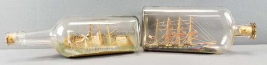 Set of 2 : Vintage Ships in Bottles