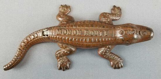"""Antique """"Monon Route"""" Cast Iron Match Safe Alligator"""
