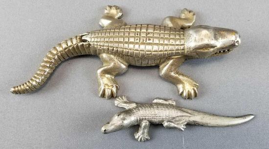 Lot of 2 : Vintage Metal/Brass Alligators