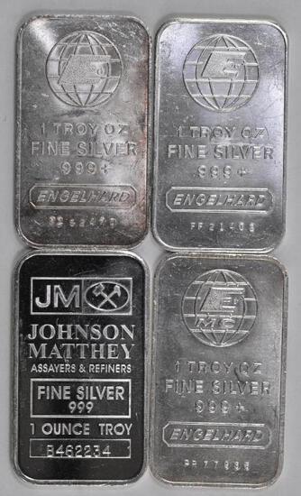 Group of (4) Engelhard & JM 1oz. .999 Fine Silver Ingots / Bars.