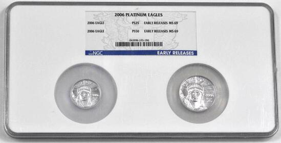 2006 2-Coin 1/4oz. & 1/2oz. Statue of Liberty Platinum Set (NGC) MS69.