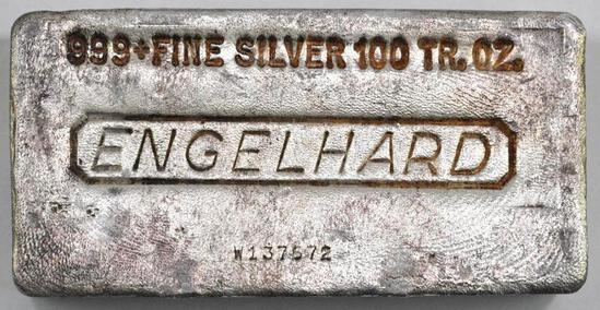 Engelhard 100oz. .999 Fine Silver Ingot / Bar.