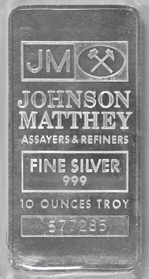Johnson Matthey 10oz. .999 Fine Silver Ingot / Bar.