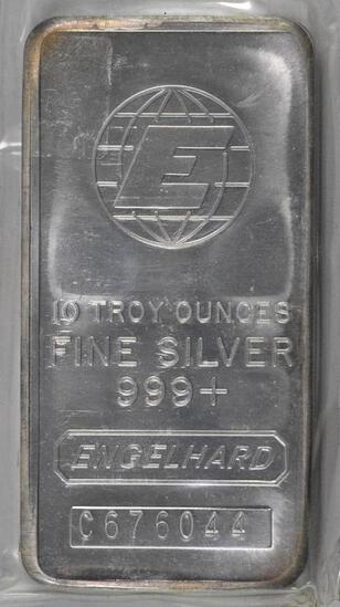 Engelhard 10oz. .999 Fine Silver Ingot / Bar.