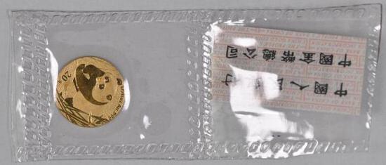 2001 China Gold Panda 1/20thoz. .999.