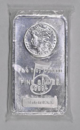 Highland Mint 5oz. .999 Fine Silver Morgan Ingot / Bar.