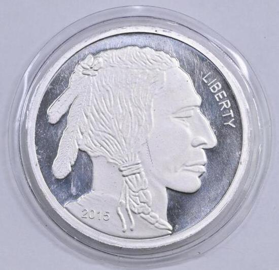 Indian / Buffalo Design 5oz. .999 Fine Silver Round.