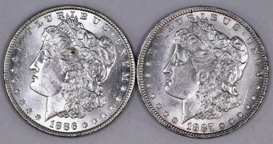 Group of (2) Morgan Silver Dollars
