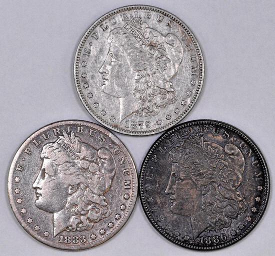 Group of (3) Morgan Silver Dollars.