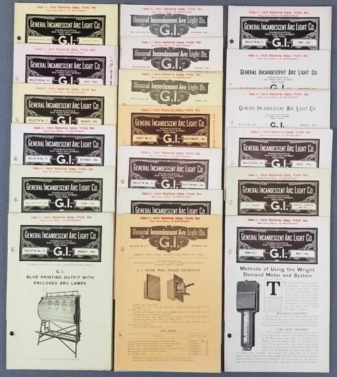 Group of antique General Incandescent Arc Light co bulletins