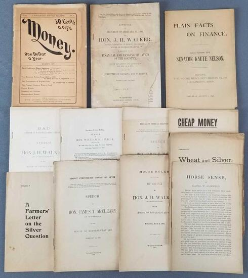 Group of 10 antique publications about money, banking and more