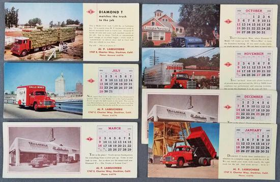 Group of 7 vintage Diamond T truck ink blotters