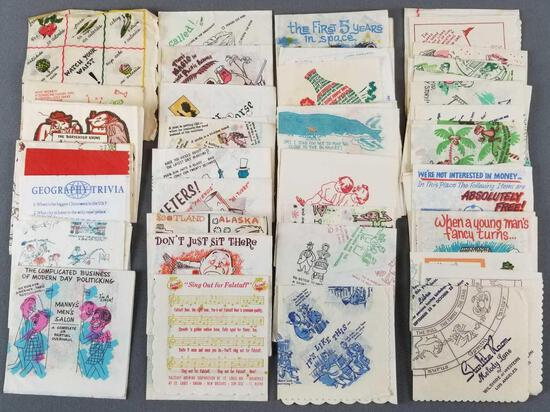 Group of 60+ vintage character napkins