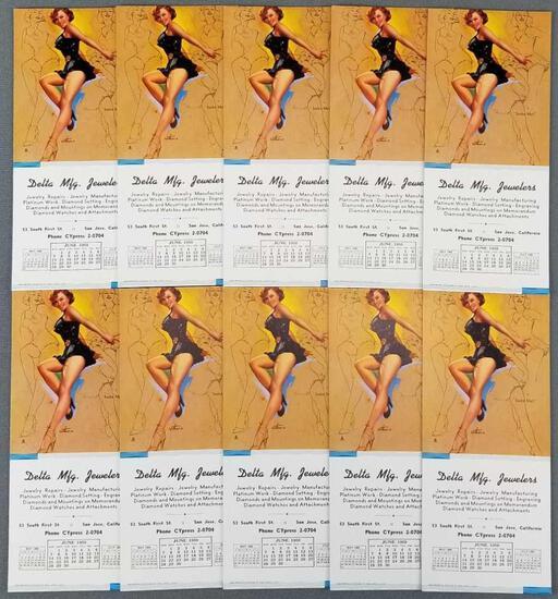 Group of 10 vintage pinup ink blotters