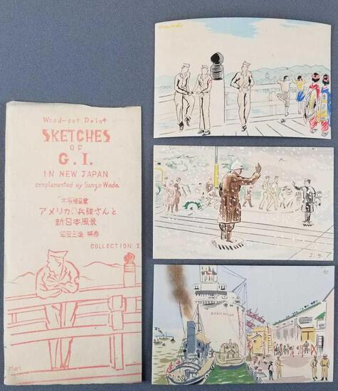 Vintage wood cut print sketches of GI in new Japan
