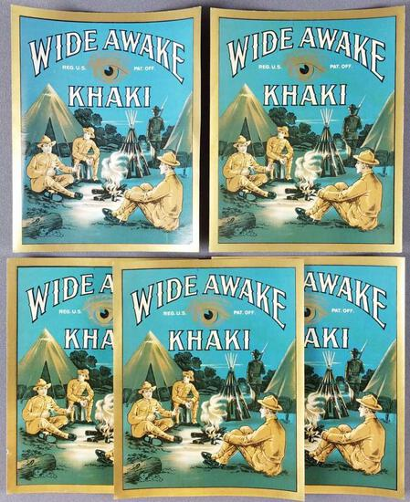 Group of 5 antique Wide Awake Khaki clothing labels