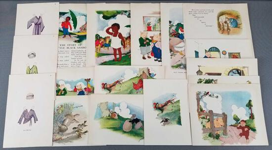 Group of 17 childrens storybook prints