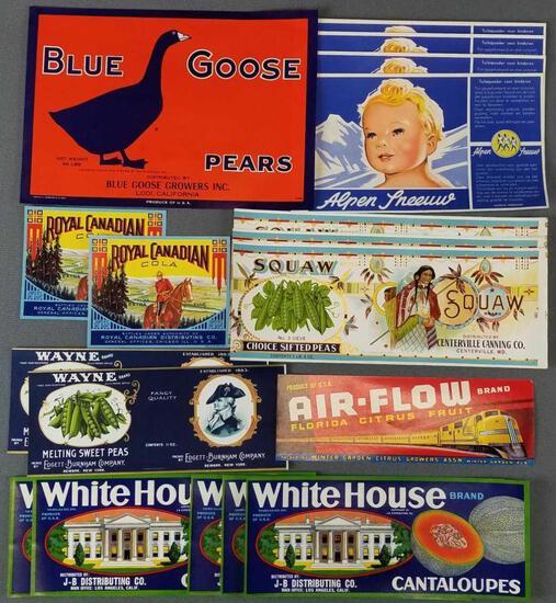 Group of 28 vintage food labels