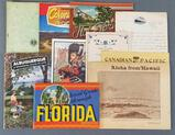 Group of travel pamphlets, letters and more