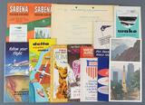 Group of vintage airline brochures, menus and more