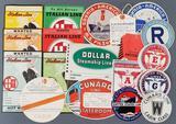 Group of vintage travel labels