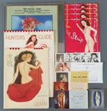 Group of risque, pinup, erotic calendars, ink blotters and more