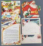 Group of vintage Santa Claus correspondence, cut out paper decor