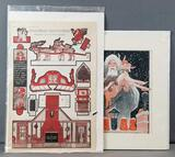 Vintage Santa Claus paper cut outs and print