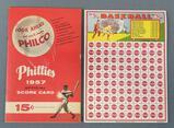 Group of vintage baseball scored card/punch board
