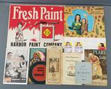 Group of vintage advertising, calendars and more