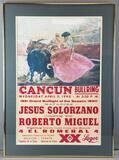 Framed vintage bullfighting poster