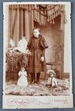 Antique photograph little girl with dolls