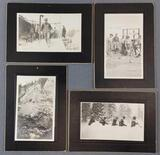 Group of 4 antique photographs of railroad/workers