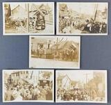 Group of 5 antique postcards of Trolley derailment