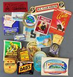 Group of travel, hotel, drink labels, and more